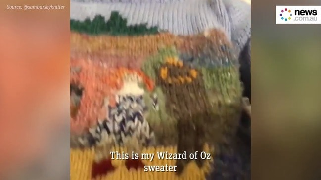 This man knits sweaters for every place he visits