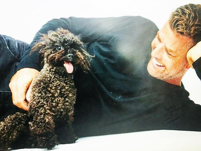 Celebrity chef Pete Evans with his dog Shikoba.