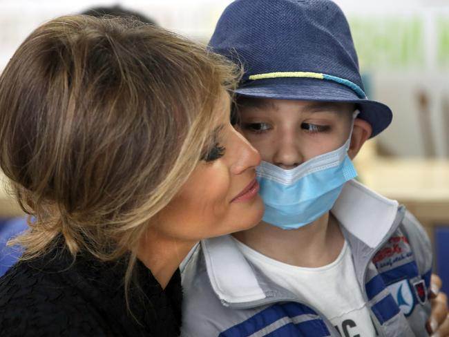 Melania Trump visits the paediatric hospital in Vatican City, Vatican. Picture: Getty