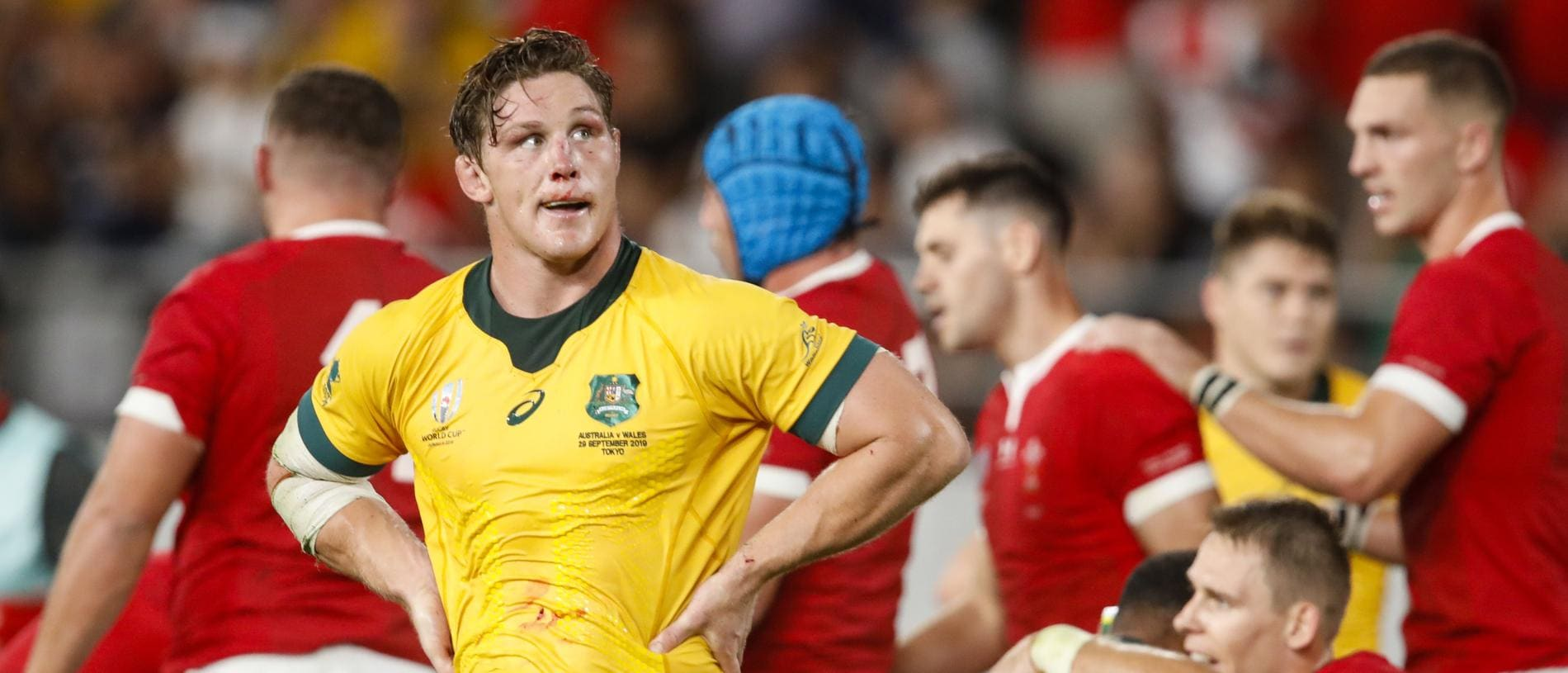 Australia's flanker Michael Hooper reacts after losing the Japan 2019 Rugby World Cup Pool D match between Australia and Wales at the Tokyo Stadium in Tokyo on September 29, 2019. (Photo by Odd ANDERSEN / AFP)