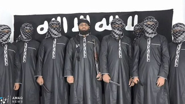 ISIS have released an image of the suspected Sri Lanka suicide bombers. Picture: Supplied