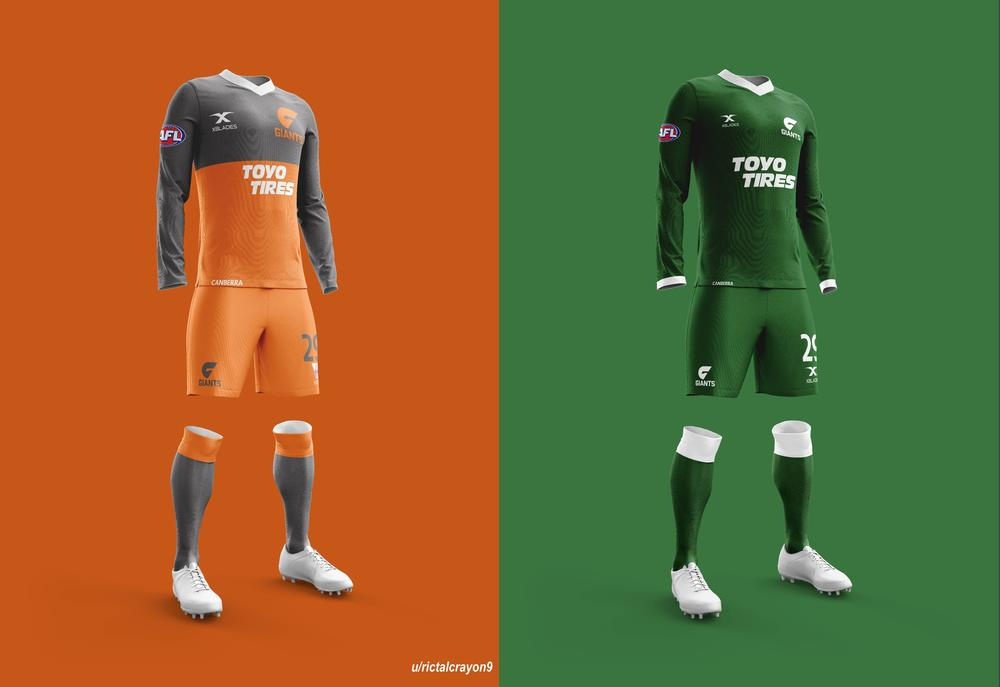 Greater Western Sydney's home and away/clash jerseys.