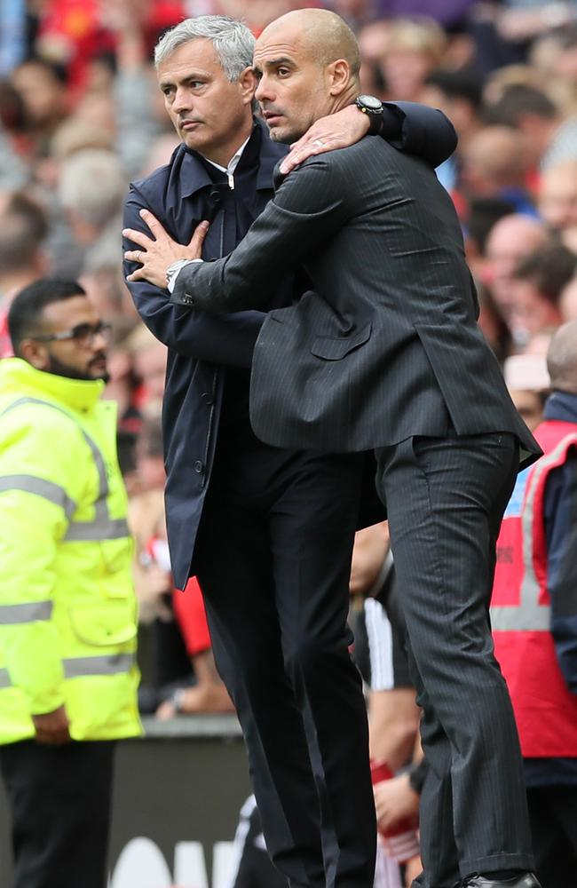 Manchester United manager Jose Mourinho, left, and Manchester City manager Pep Guardiola.