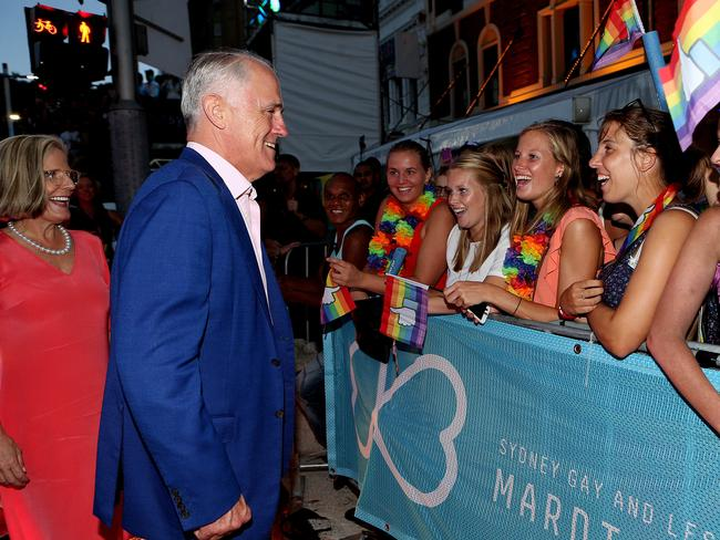 Prime Minister Malcolm Turnbull and wife Lucy at the parade meeting supporters. Picture: Kristi Miller