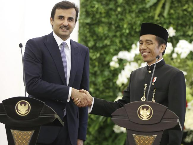 Qatar's Emir Sheikh is reportedly 195cm tall, a full foot taller than Indonesian President Joko Widodo. Picture: Achmad Ibrahim