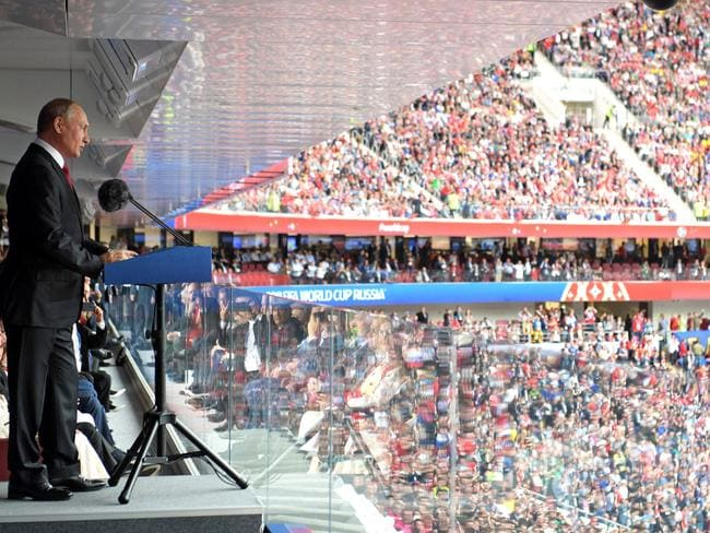 Russian President Vladimir Putin spoke to a huge crowd during the opening ceremony of the World Cup last week. Picture: Getty Images