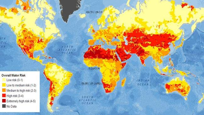A current map showing water scarcity produced by the World Resource Institute. The dark red represents extremely high risk, the orange represents medium to high risk, while the lightest yellow indicates low risk.