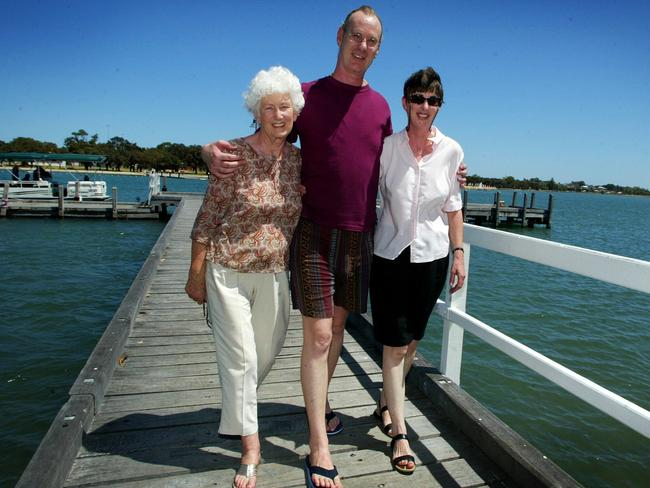 Andrew Mallard with mother Grace and sister Jackie at Mandurah, Perth after being unexpectedly released from Casuarina Prison.