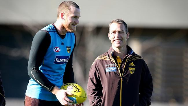 Hawk Jarryd Roughead expects Josh Gibson and Brad Hill to return this week. Picture: Wayne Ludbey