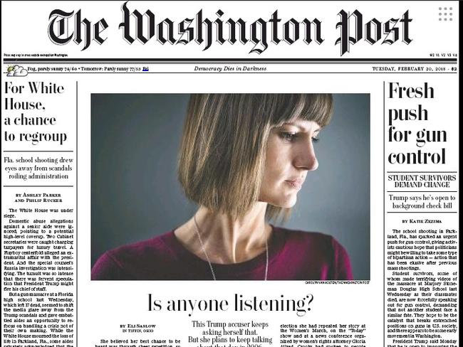Rachel Crooks on the front page of Tuesday's Washington Post.