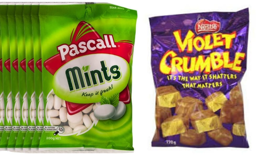 "PASCALL MINTS + VIOLET CRUMBLE  <p>""Pascall Country Mints. You can't get them anymore - but my nan had the chocolate version. And the pack of little violet crumbles and we would line up and get one little square each and then we would give her a thank you kiss and then she would say ""oh it's just tummy love it is!"" and cackle like an old hen"" - Leesa</p>"