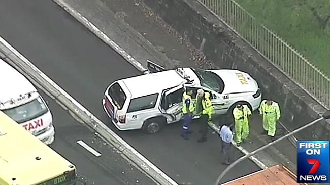 The taxi involved in the collision. Courtesy: Channel Seven.