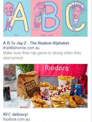 These targeted ads are fine. I'm totally into fried chicken and hip hop education for children. Picture: Facebook