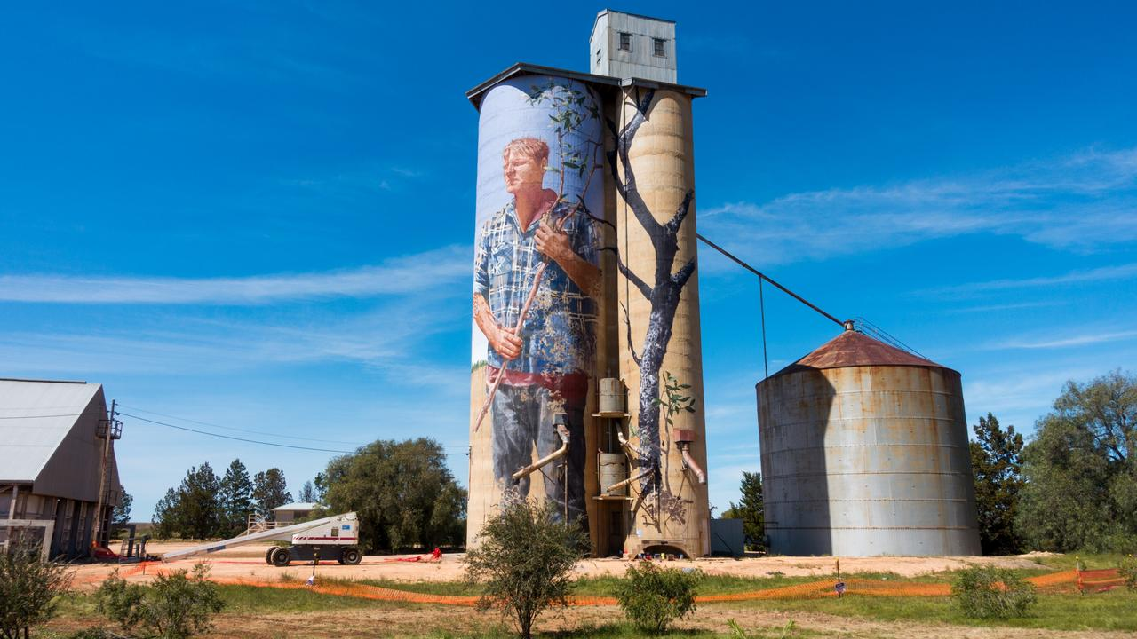 Farmer Nick Hulland's portrait is now painted on the Patchewollock silo. Picture: supplied