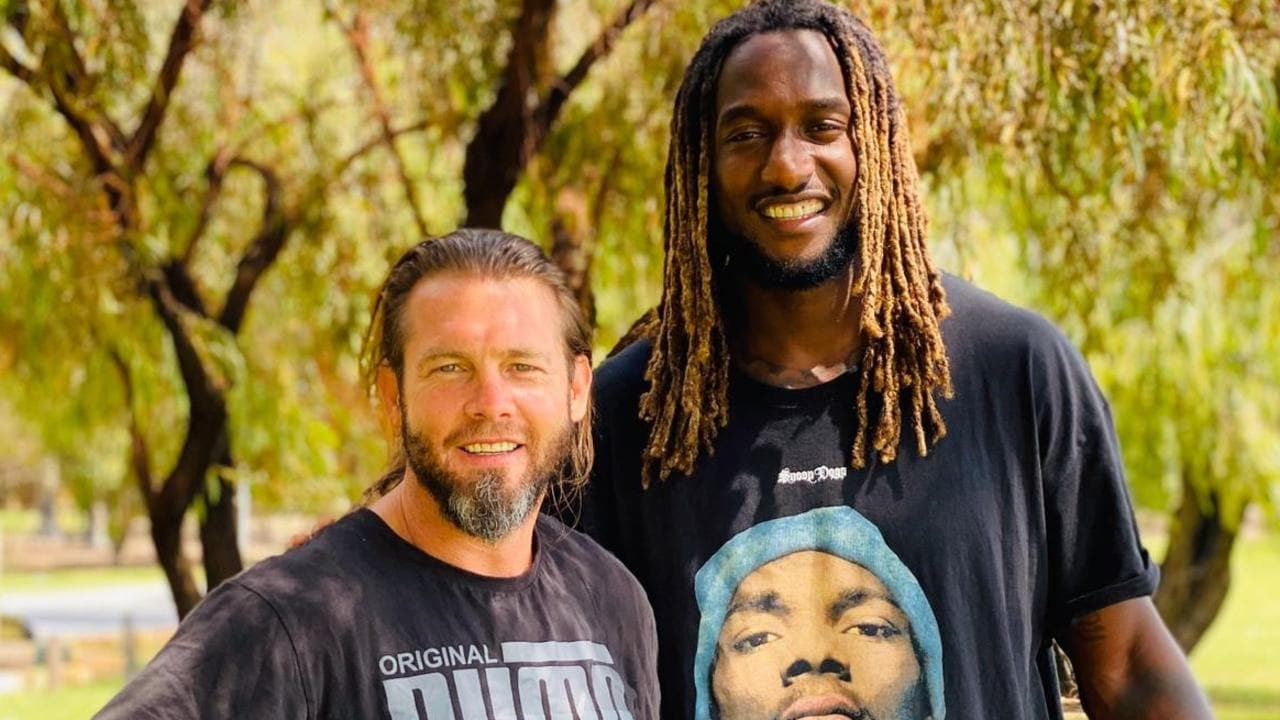 Ben Cousins with Eagles ruckman Nic Naitanui. Picture: Channel 7