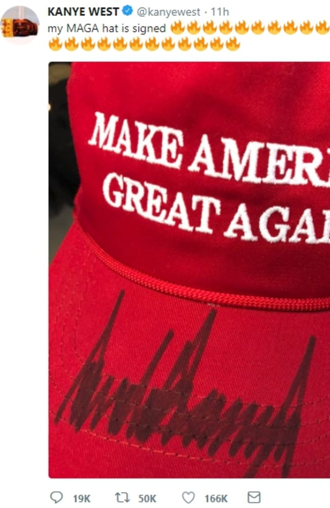 Kanye West tweeted about his signed MAGA hat.