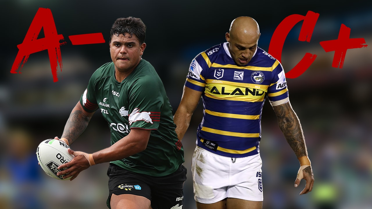 The Rabbitohs' back five got on A-, while the Eels got a C+.