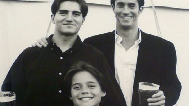 Pippa's husband James Matthews (far right) with brothers Spencer (front) and Michael (left) who died in an accident on Mount Everest in 1999. Image: Michael Matthews Foundation.