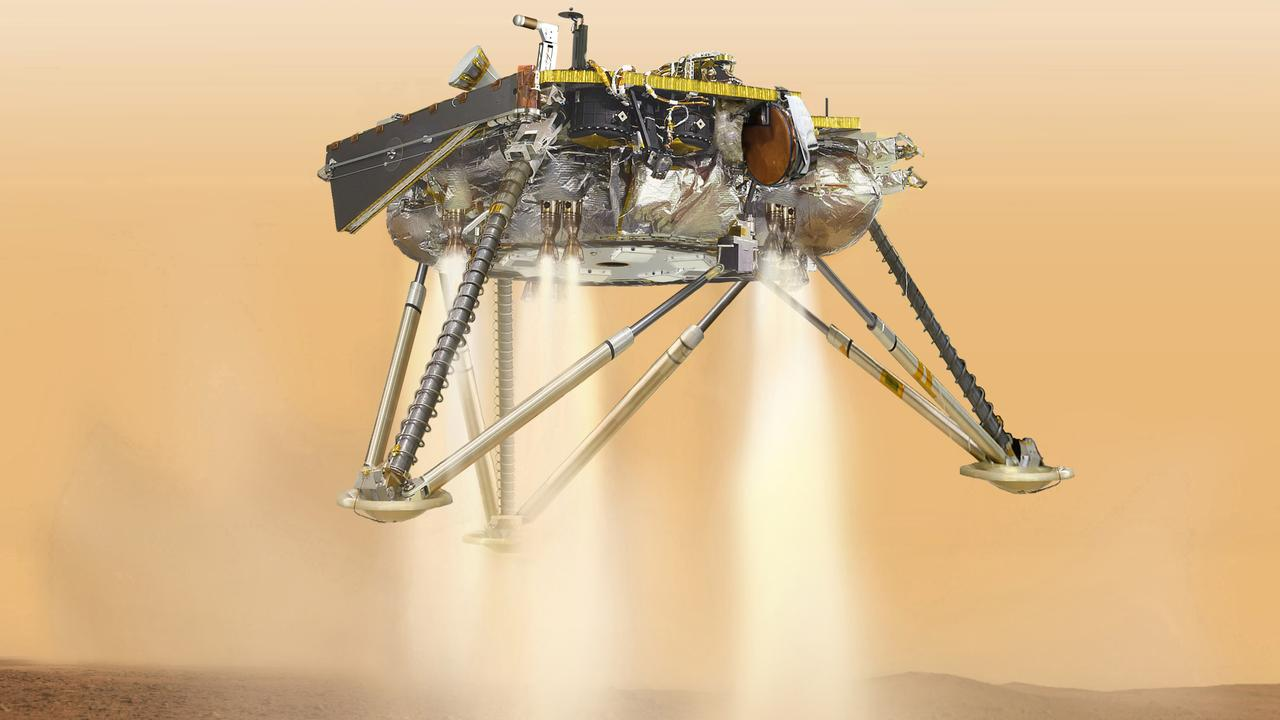 This is a drawing from NASA of what InSight would have looked like as it landed on the surface of Mars. Picture: NASA/JPL-Caltech via AP