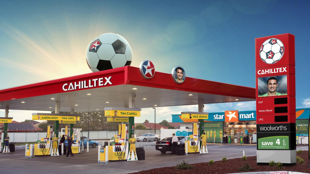 Artist impression of the CAHILLtex promotion at a Sydney petrol station.