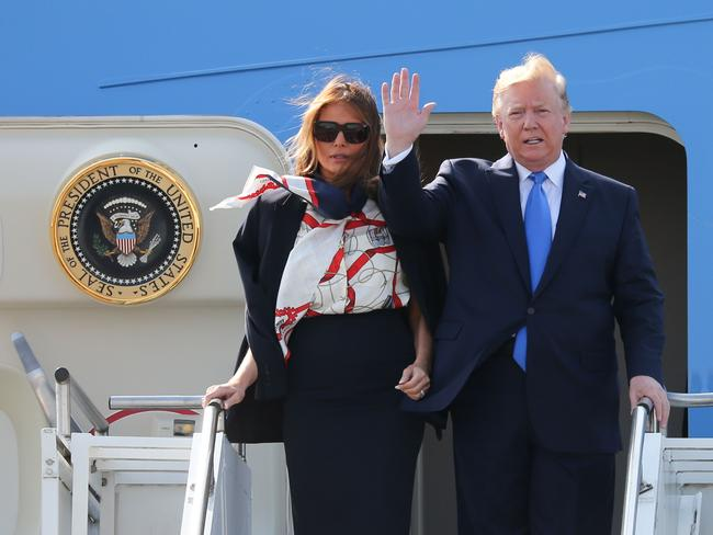 Trump and Melania touch down on Air Rorce One. Picture: Isabel Infantes / AFP.