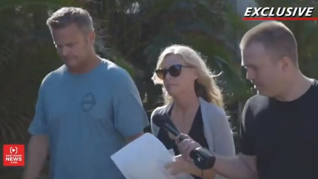Chad Daybell and Lori Vallow in Hawaii last weekend, questioned by reporter Nate Eaton. Picture: East Idaho News