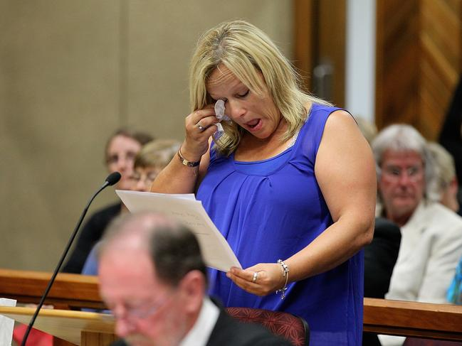 Lee-Ann Cartier reading her victim impact statement in court. Picture: Martin Hunter/Getty Images