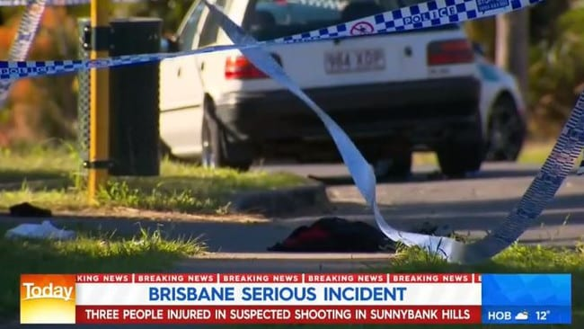 Police and paramedics rushed to a suburban street in Brisbane following a shooting this morning, with two people injured — one seriously.