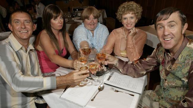 Look at moiye: Kath & Kim cast Peter Rowsthorn, Gina Riley, Magda Szubanski, Jane Turner and Glenn Robbins.