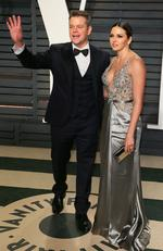 Matt Damon and Luciana Barroso attend the 2017 Vanity Fair Oscar Party on February 26, 2017 in Beverly Hills, California. Picture: AFP