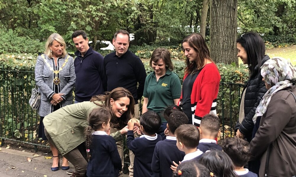 Duchess of Cambridge arriving at Sayers Croft Forest School and Wildlife Garden - following in the footsteps of 5,500 children last year from Westminster and neighbouring boroughs Image via Westminister council