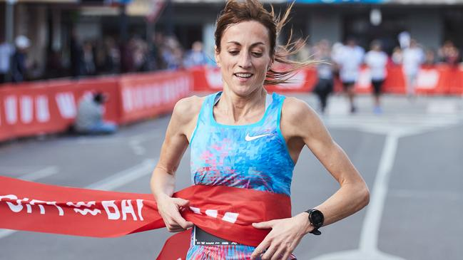 Sinead Diver after crossing the line in first place in the City to Bay at Glenelg. Picture: Matt Loxton