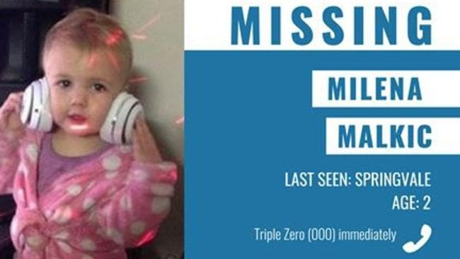 Victoria Police has issued Australia's first ever amber alert to find missing toddler Milena Malkic