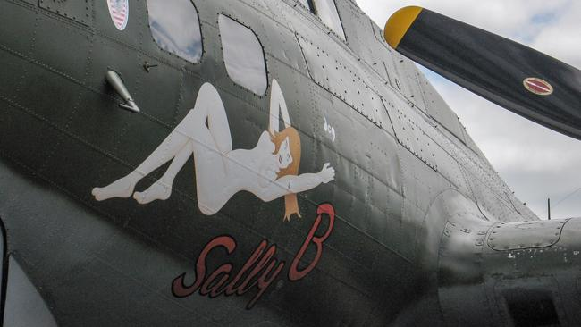 Nose art on a Boeing Flying Fortress bomber used in World War II.
