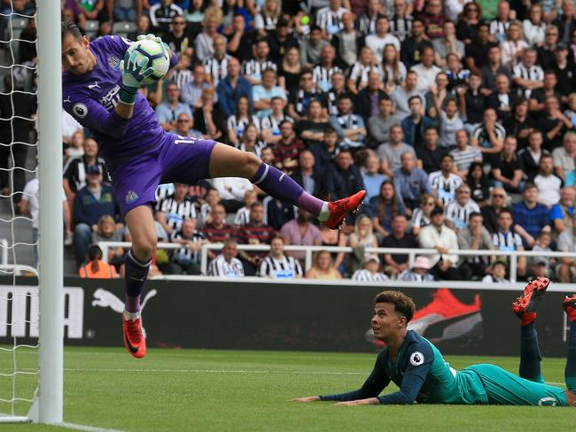 Tottenham Hotspur's English midfielder Dele Alli (R) watches as Newcastle United's Slovakian goalkeeper Martin Dubravka saves his shot during the English Premier League football match between Newcastle United and Tottenham Hotspur at St James' Park. Picture: AFP
