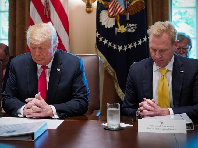 US President Donald Trump and Deputy Secretary of Defence Patrick Shanahan (R), bow their heads in prayer before the start of a Cabinet meeting in the Cabinet Room of the White House. Picture: AFP