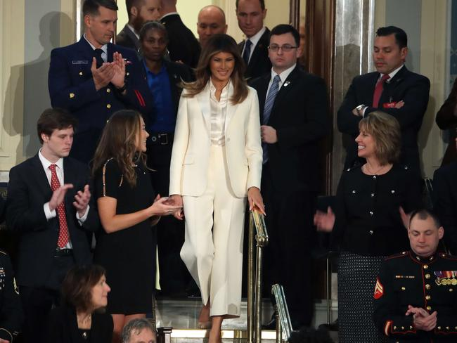 First lady Melania Trump arrives for the State of the Union address. Picture: Getty Images/Mark Wilson
