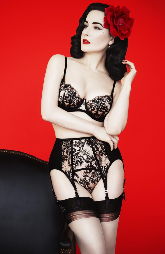 Lace lover ... Dita Von Teese wearing her self-titled lingerie line. Picture: Erik Madigan Heck