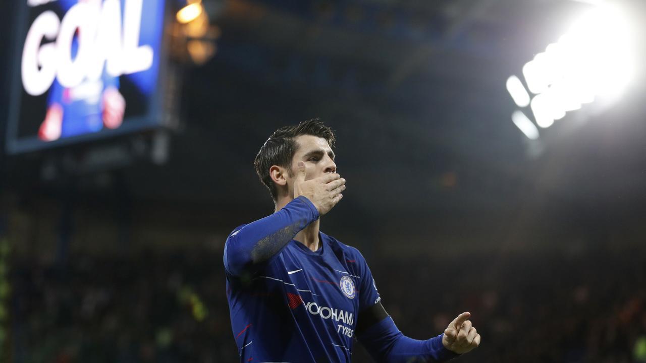 Chelsea's Alvaro Morata celebrates after scoring the opening goal