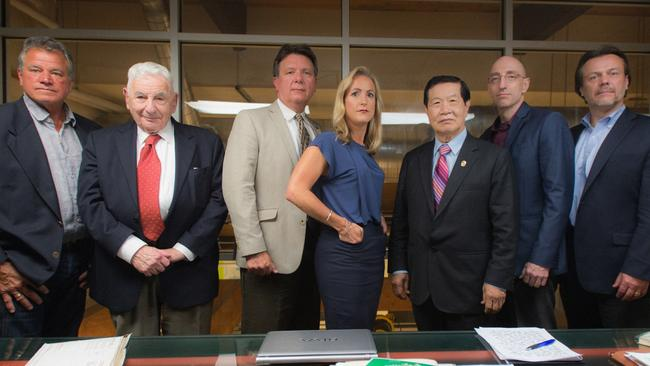 Meeting of the Minds, L-R: James Kolar, Dr Werner Spitz, James Fitzgerald, Laura Richards, Dr Henry Lee, Jim Clemente, Stan Burke who were the experts involved in CBS documentary The Case of JonBenet Ramsey. Picture: Neil Jacobs/CBS