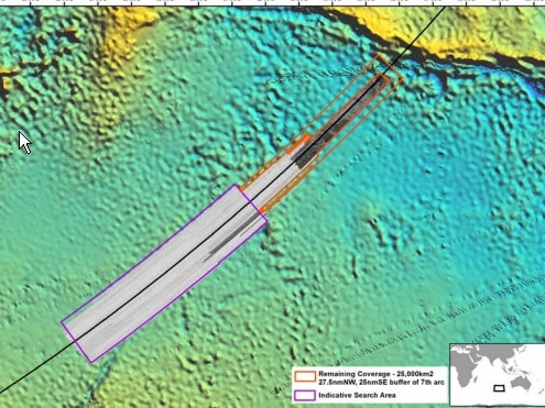 The original search area along the 7th arc, where MH370 is believed to have crashed, has been searched twice with no trace of the aircraft found. Picture: ATSB