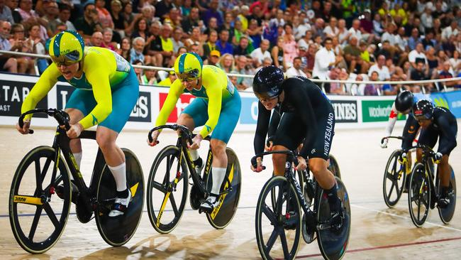 Action from the Gold Coast Commonwealth Games at Anna Meares Velodrome in Brisbane. Picture: Patrick Hamilton