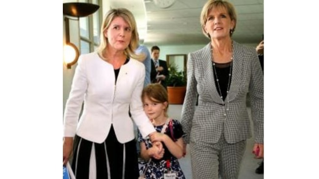 A file photo of Natasha Stott Despoja with her daughter and former Foreign Minister Julie Bishop. Image: News Corp