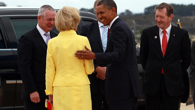 President Barack Obama and Governor-General Quentin Bryce embrace the art of earbashing - and awkward. Picture: Stuart Mcevoy