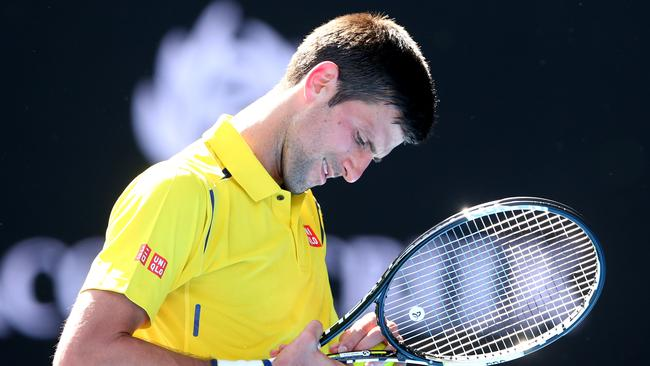 Novak Djokovic during his first round match against Hyeon Chung.