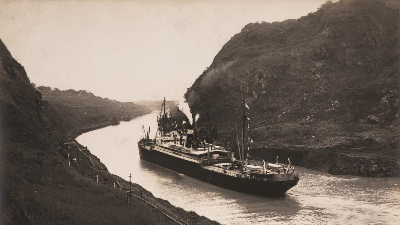 The SS Cristobal going through the Panama Canal on August 4, 1914, just two weeks before its official opening. Building the canal and the locks that moved the ships through the different levels of the two oceans was an amazing engineering feat.