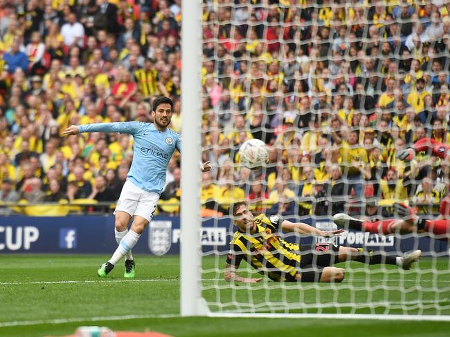 David Silva scores his team's first goal during the FA Cup final against Watford.