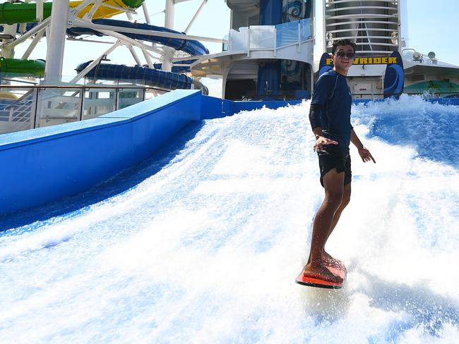 Surf's up at the FlowRider! Picture: Royal Caribbean