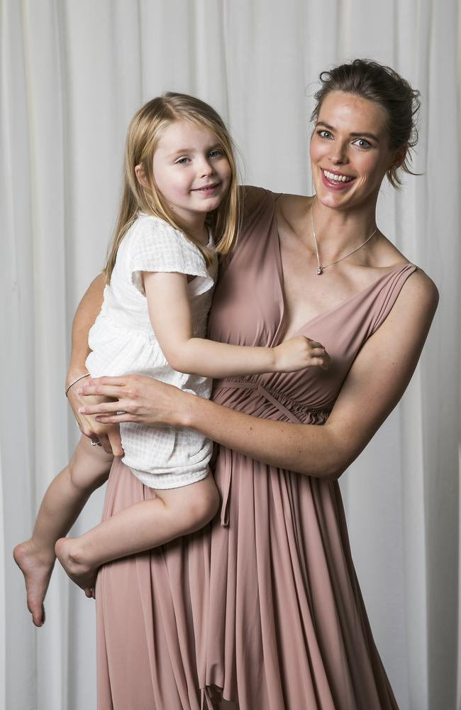Model Robyn Lawley and daughter Ripley, 3. Picture: Dylan Robinson