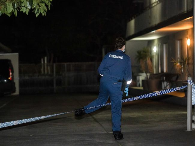 Officers arrived at the unit complex at about 7.30pm yesterday. Picture: Jason Edwards